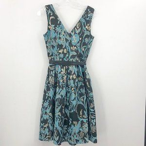 MODCLOTH embroidered blue & gold metallic fit and flare waist tie dress size XS